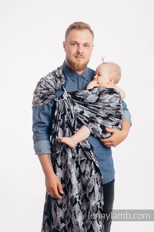 RingSling, Jacquardwebung (100% Baumwolle) - GRAU CAMO - standard 1.8m #babywearing