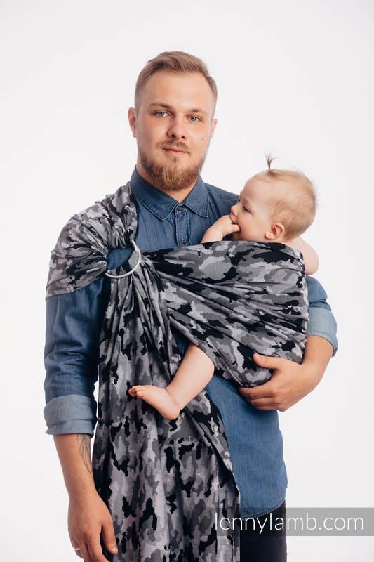 RingSling, Jacquardwebung (100% Baumwolle), Raffung an den Ringen - GRAU CAMO - standard 1.8m #babywearing