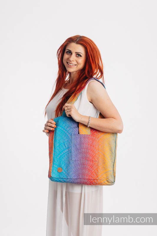 Shoulder bag made of wrap fabric (100% cotton) - PEACOCK'S TAIL - SUNSET - standard size 37cmx37cm #babywearing