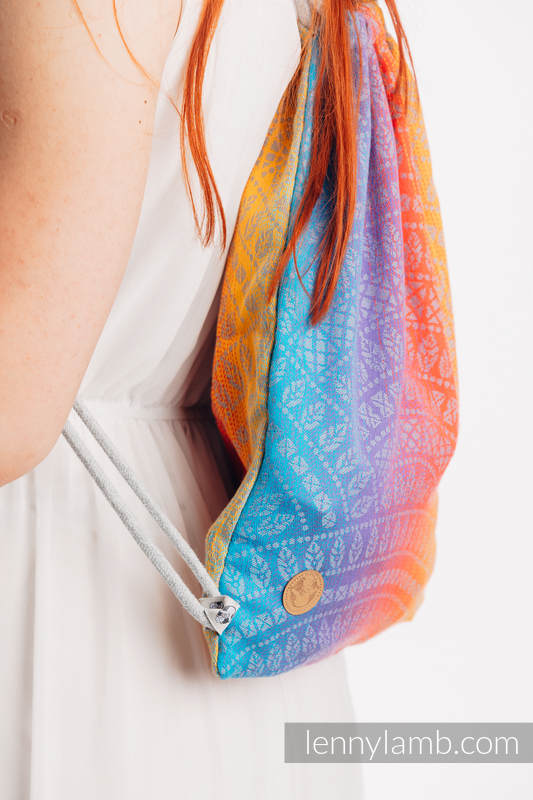 Sackpack made of wrap fabric (100% cotton) - PEACOCK'S TAIL - SUNSET - standard size 32cmx43cm #babywearing