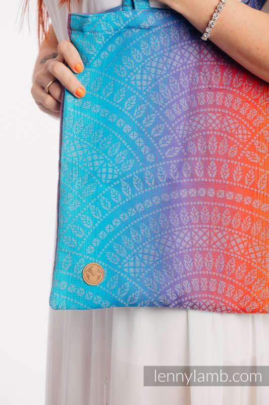 Shopping bag made of wrap fabric (100% cotton) - PEACOCK'S TAIL - SUNSET  #babywearing