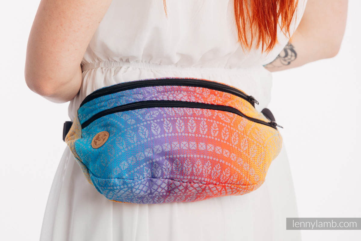 Waist Bag made of woven fabric, size large (100% cotton) - PEACOCK'S TAIL - SUNSET  #babywearing