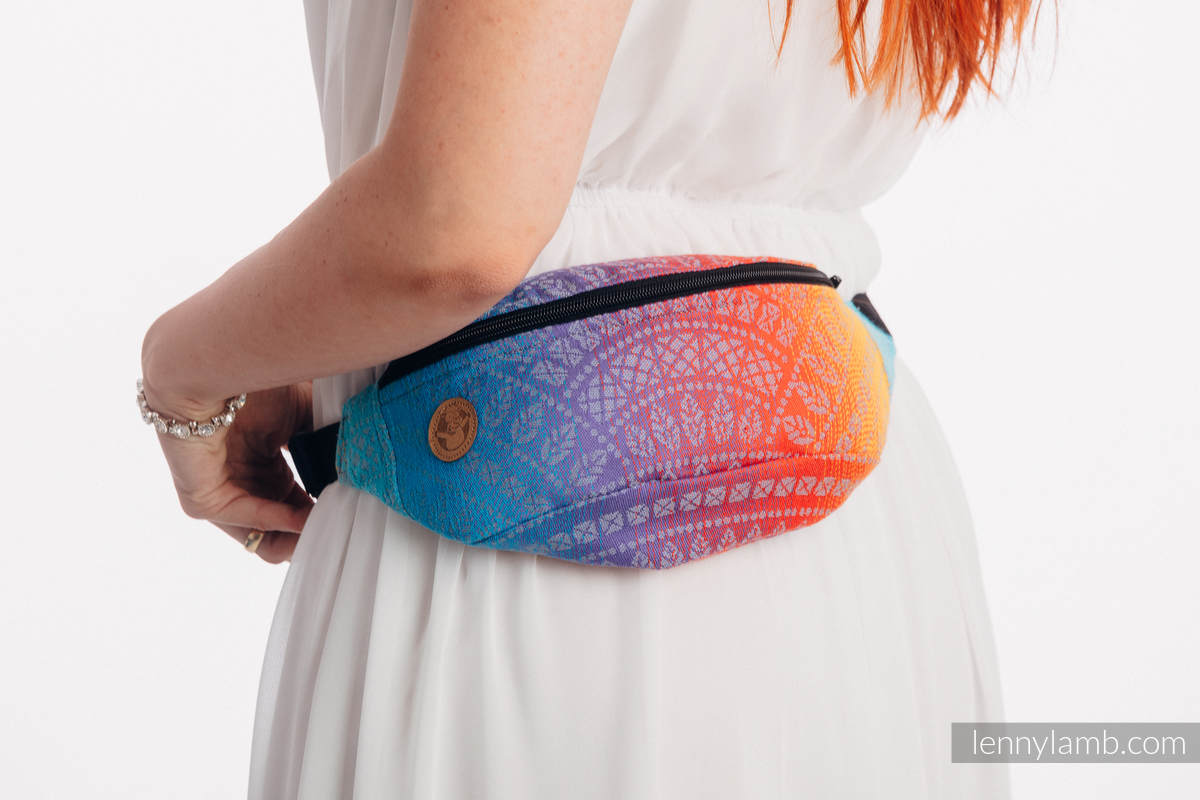 Waist Bag made of woven fabric, (100% cotton) - PEACOCK'S TAIL - SUNSET  #babywearing