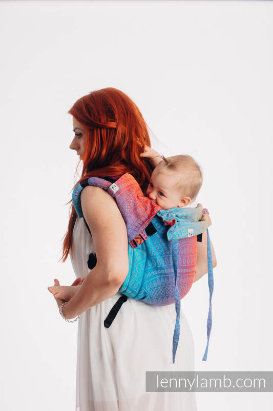 Lenny Buckle Onbuhimo baby carrier, standard size, jacquard weave (100% cotton) - PEACOCK'S TAIL - SUNSET  #babywearing