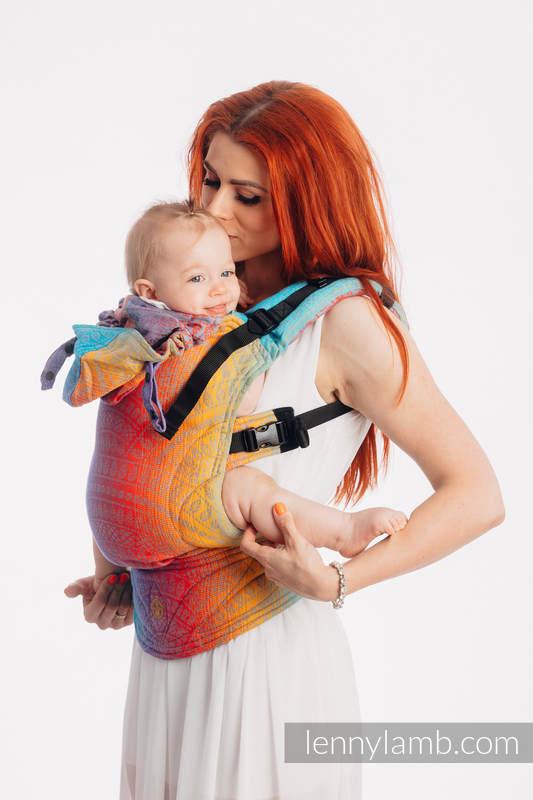LennyGo Mochila ergonómica, talla bebé, jacquard 100% algodón - PEACOCK'S TAIL - SUNSET  #babywearing