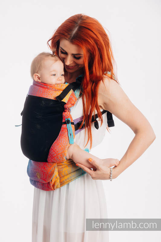 LennyUpGrade Mesh Carrier, Standard Size, jacquard weave (75% cotton, 25% polyester) - PEACOCK'S TAIL - SUNSET  #babywearing