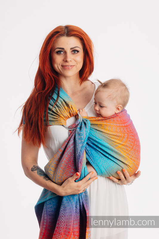 Ringsling, Jacquard Weave (100% cotton), with gathered shoulder - PEACOCK'S TAIL - SUNSET - standard 1.8m #babywearing