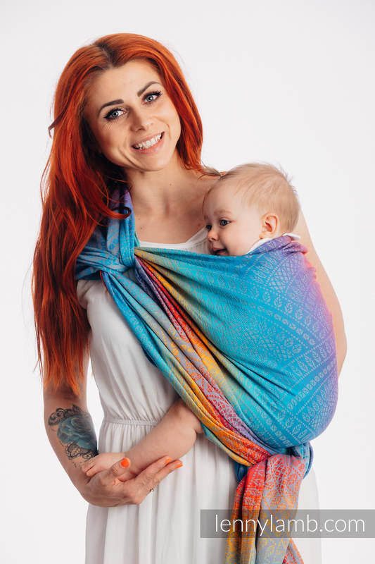Baby Wrap, Jacquard Weave (100% cotton) - PEACOCK'S TAIL - SUNSET - size M #babywearing