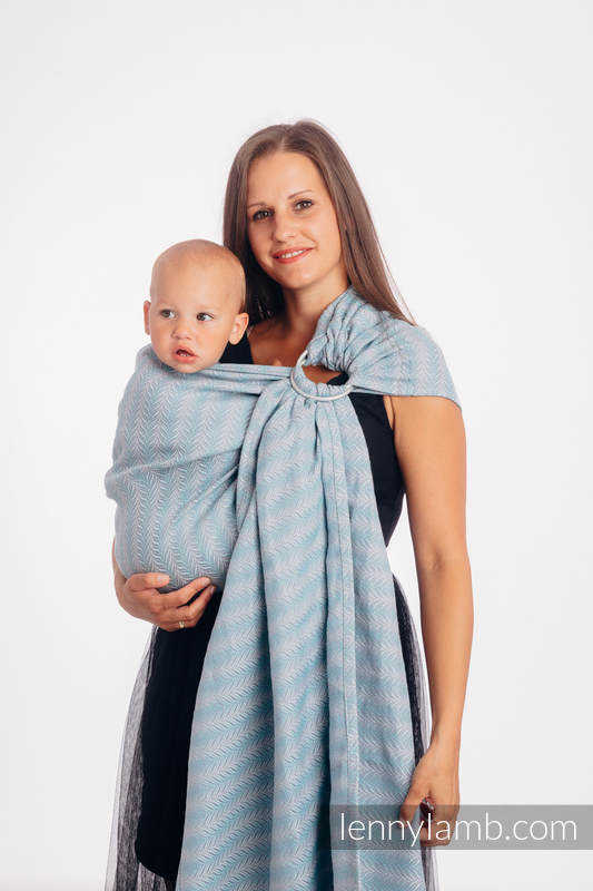 Ringsling, Jacquard Weave, with gathered shoulder (75% cotton, 25% linen) - YUCCA - SWING - standard 1.8m #babywearing