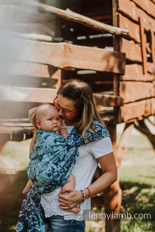 Żakardowa chusta do noszenia dzieci, 100% bawełna - PLAC ZABAW - NIEBIESKI - rozmiar M #babywearing
