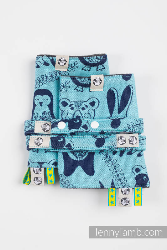 Drool Pads & Reach Straps Set, (60% cotton, 40% polyester) - PLAYGROUND - BLUE  #babywearing