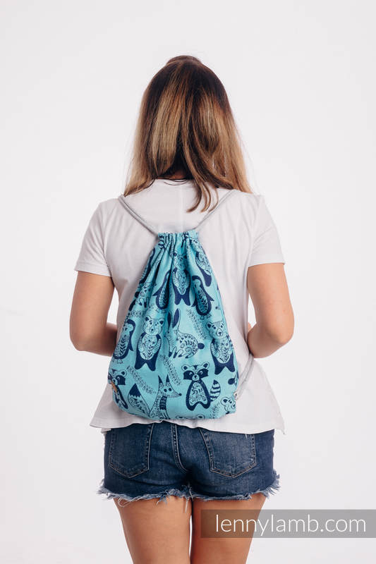 Mochila portaobjetos hecha de tejido de fular (100% algodón) - PLAYGROUND - BLUE - talla estándar 32cmx43cm #babywearing