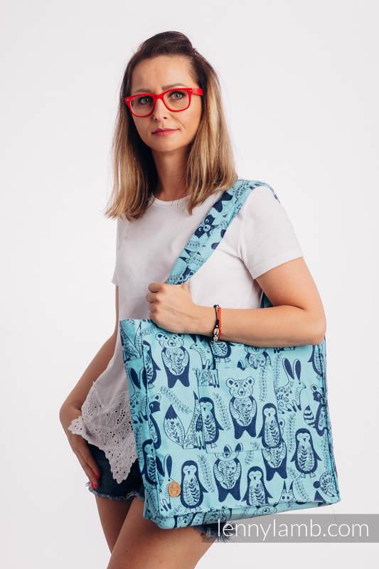Shoulder bag made of wrap fabric (100% cotton) - PLAYGROUND - BLUE - standard size 37cmx37cm #babywearing