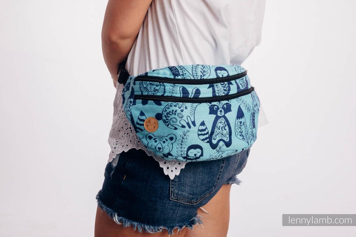 Waist Bag made of woven fabric, size large (100% cotton) - PLAYGROUND - BLUE  #babywearing