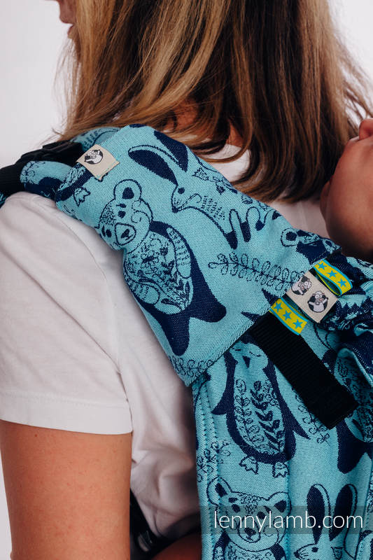 Lenny Buckle Onbuhimo baby carrier, standard size, jacquard weave (100% cotton) - PLAYGROUND - BLUE  #babywearing