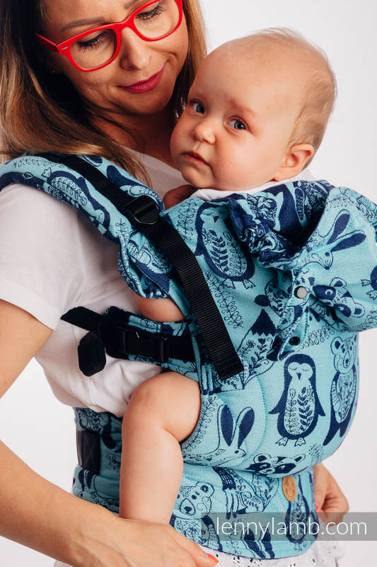 LennyGo Ergonomic Carrier, Baby Size, jacquard weave 100% cotton - PLAYGROUND - BLUE  #babywearing