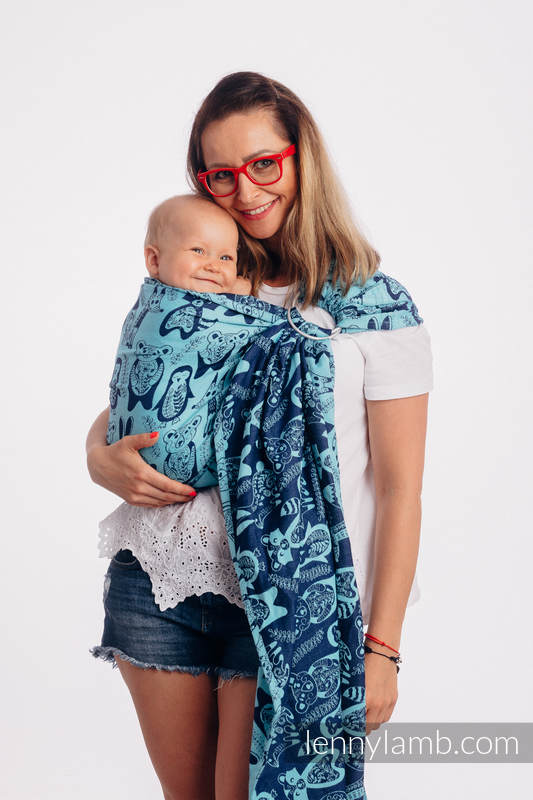 Ringsling, Jacquard Weave (100% cotton), with gathered shoulder - PLAYGROUND - BLUE - standard 1.8m #babywearing