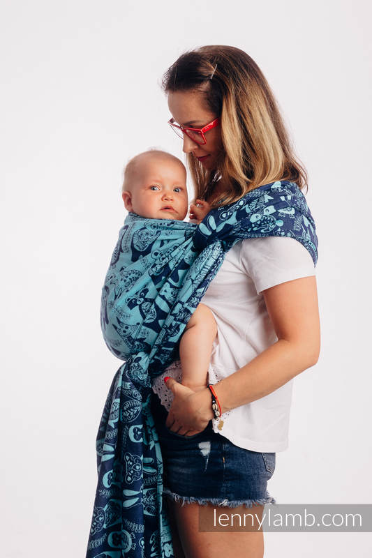 Fular, tejido jacquard (100% algodón) - PLAYGROUND - BLUE  - talla XS #babywearing