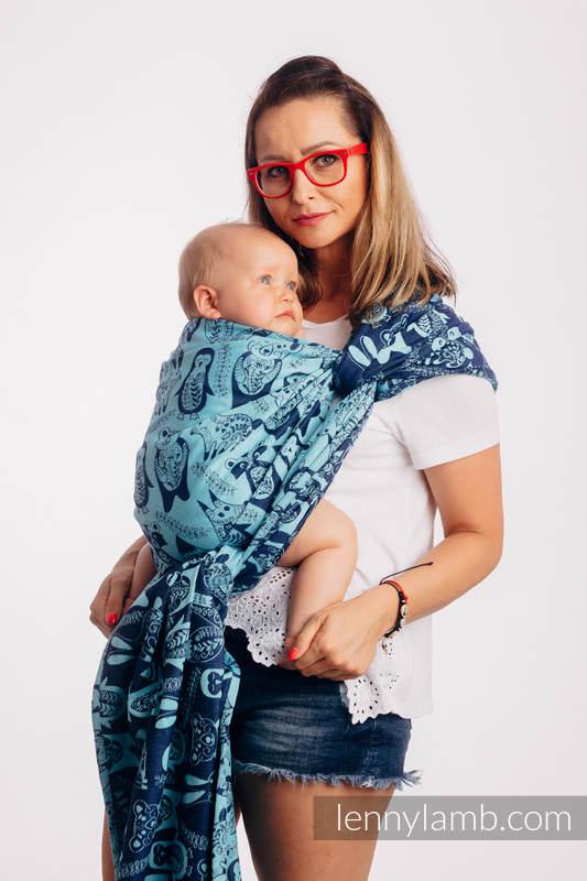 Baby Wrap, Jacquard Weave (100% cotton) - PLAYGROUND - BLUE - size XS #babywearing