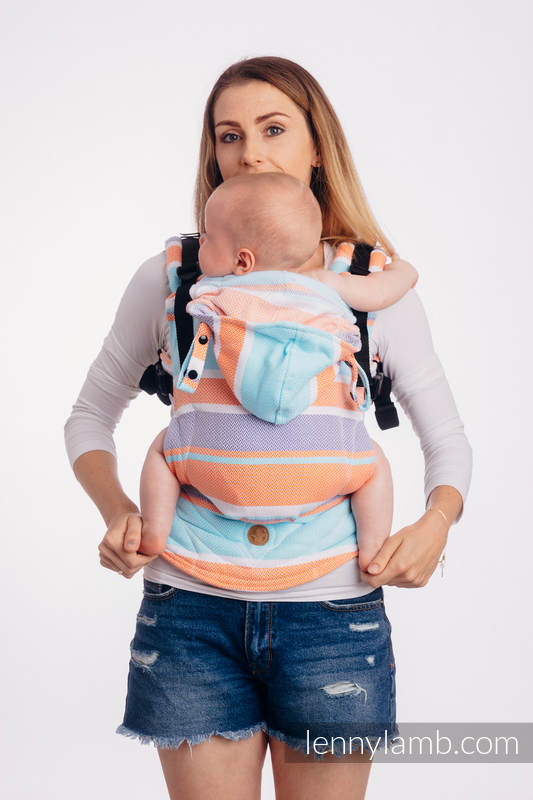LennyGo Ergonomic Carrier, Baby Size, herringbone weave 100% cotton - LITTLE HERRINGBONE MANDARIN HEAVEN #babywearing