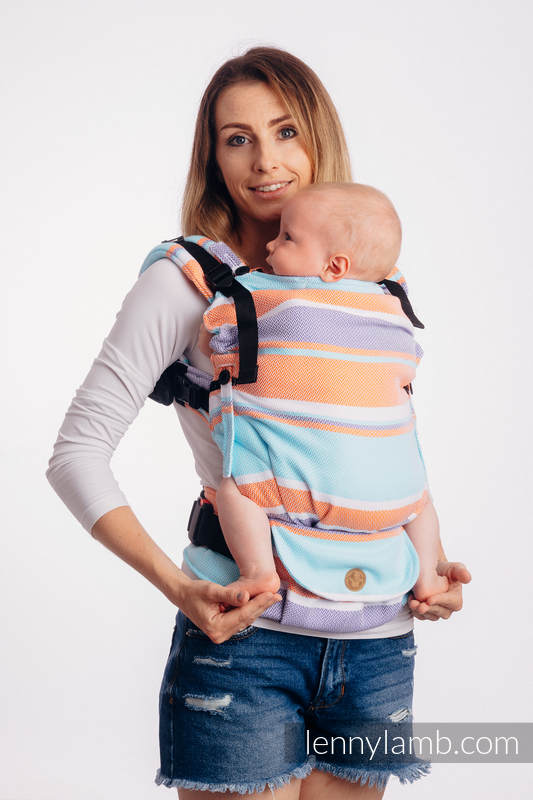 LennyUpGrade Carrier, Standard Size, herringbone weave 100% cotton - LITTLE HERRINGBONE MANDARIN HEAVEN #babywearing