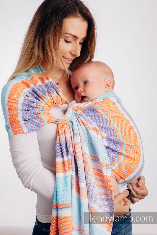 Ringsling, Jacquard Weave (100% cotton), with gathered shoulder - LITTLE HERRINGBONE MANDARIN HEAVEN - standard 1.8m #babywearing