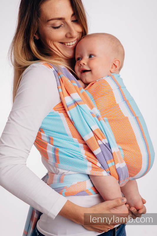 Baby Wrap, Herringbone Weave (100% cotton) - LITTLE HERRINGBONE MANDARIN HEAVEN - size XS #babywearing