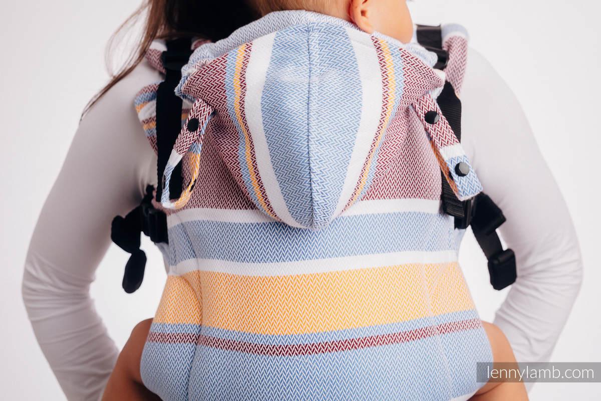 Nosidełko Ergonomiczne LennyGo, splot jodełkowy, 100% bawełna , rozmiar Baby - MAŁA JODEŁKA KWIAT POMARAŃCZY #babywearing