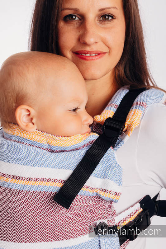 LennyUpGrade Carrier, Standard Size, herringbone weave 100% cotton - LITTLE HERRINGBONE ORANGE BLOSSOM #babywearing