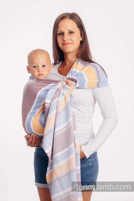 Ringsling, Jacquard Weave (100% cotton), with gathered shoulder - LITTLE HERRINGBONE ORANGE BLOSSOM - standard 1.8m #babywearing