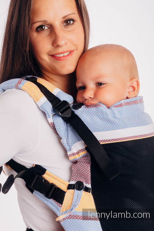 LennyUpGrade Mesh Carrier, Standard Size, herringbone weave (75% cotton, 25% polyester) - LITTLE HERRINGBONE ORANGE BLOSSOM #babywearing