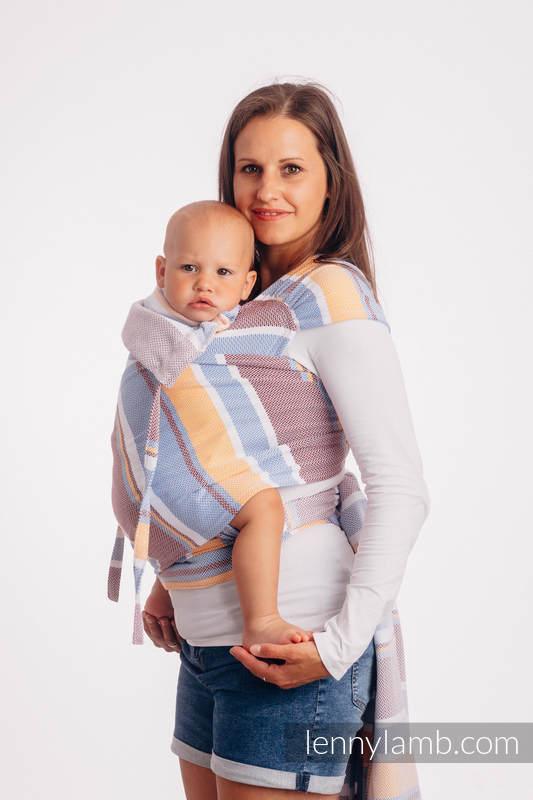 Nosidełko dla dzieci WRAP-TAI MINI, 100% bawełna, splot jodełkowy, z kapturkiem, MAŁA JODEŁKA KWIAT POMARAŃCZY #babywearing