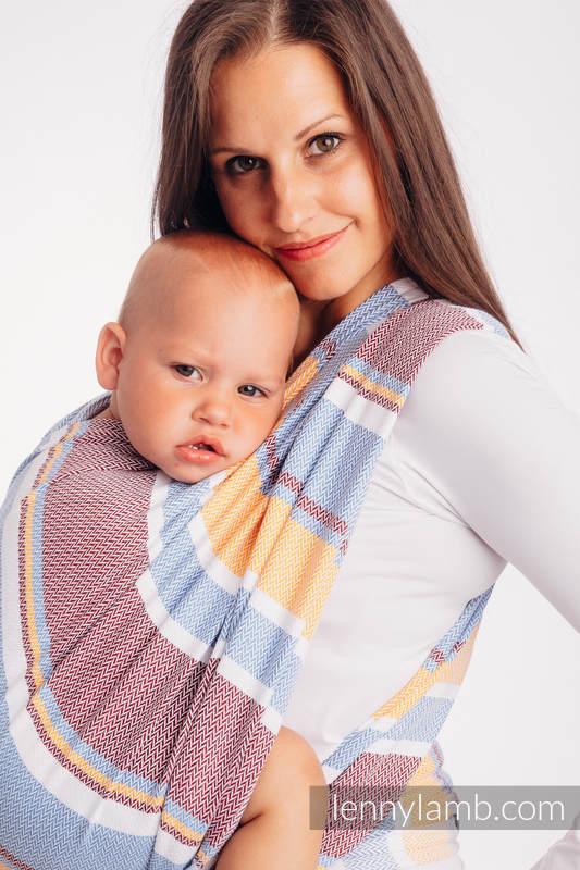 Tragetuch, Fischgrätmuster (100% Baumwolle) - LITTLE HERRINGBONE ORANGE BLOSSOM - Größe L (grad B) #babywearing