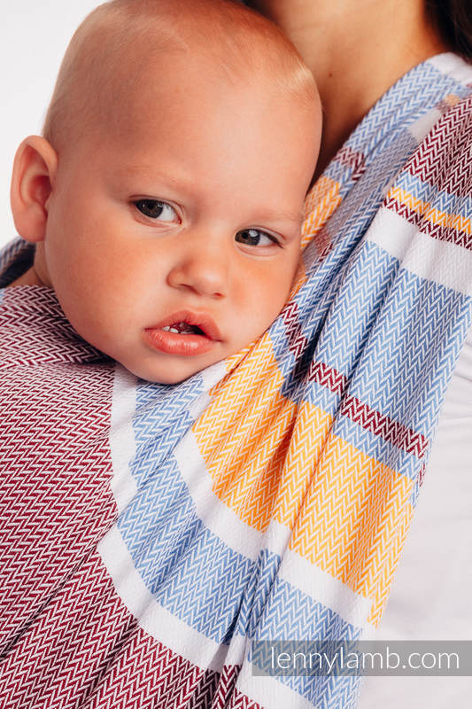 Baby Wrap, Herringbone Weave (100% cotton) - LITTLE HERRINGBONE ORANGE BLOSSOM - size XS (grade B) #babywearing