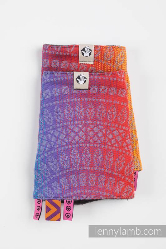 Set de protege tirantes y tiras de alcance (60% algodón, 40% Poliéster) - PEACOCK'S TAIL - SUNSET  #babywearing