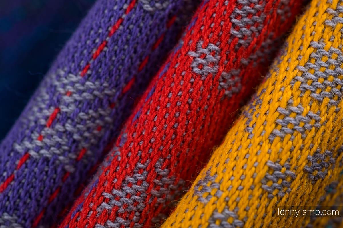 Fular, tejido jacquard (100% algodón) - PEACOCK'S TAIL - SUNSET - talla XS #babywearing