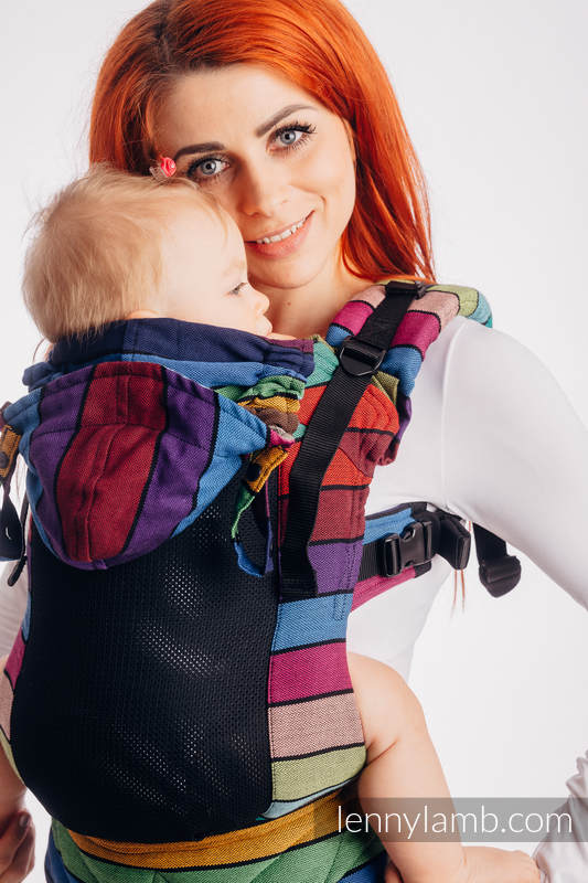 LennyGo Ergonomic Mesh Carrier, Baby Size, broken-twill weave 86% cotton, 14% polyester - CAROUSEL OF COLORS #babywearing