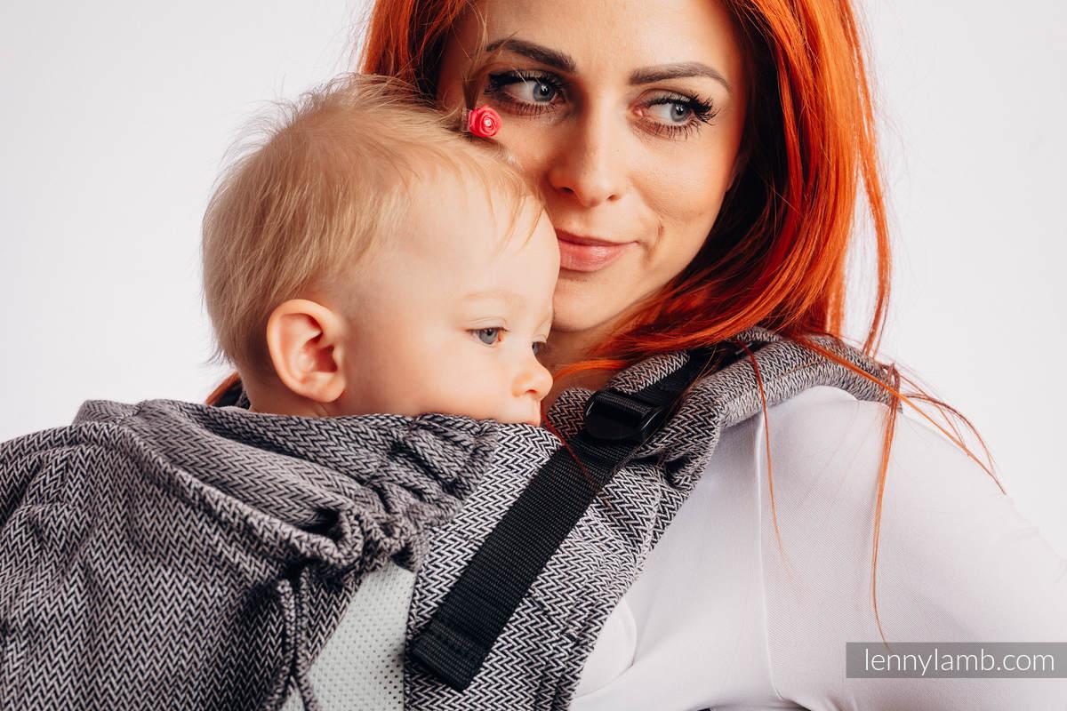 LennyGo Ergonomic Mesh Carrier, Toddler Size, herringbone weave 86% cotton, 14% polyester - LITTLE HERRINGBONE OMBRE GREY #babywearing