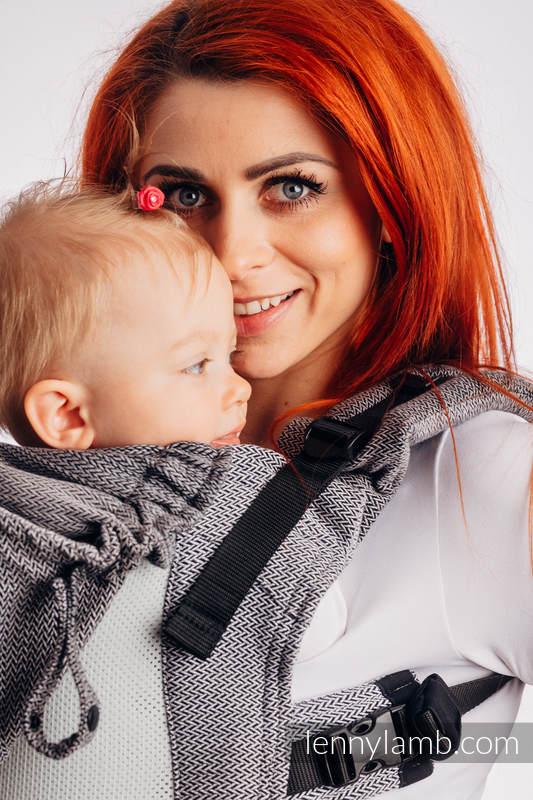 LennyGo Ergonomische  Mesh-Tragehilfe, Größe Baby, Fischgrätmuster, 86% Baumwolle, 14% Poliester - LITTLE HERRINGBONE OMBRE GREY #babywearing