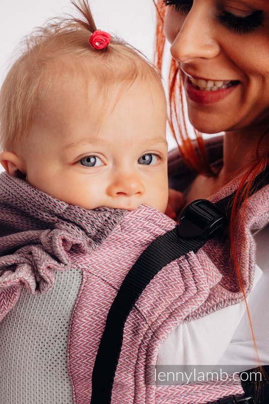LennyGo Mochila ergonómica de malla, talla bebé, tejido Herringbone, 86% algodón, 14% poliéster - LITTLE HERRINGBONE OMBRE PINK #babywearing