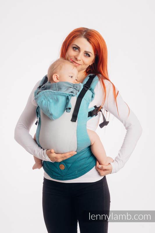 LennyGo Ergonomische  Mesh-Tragehilfe, Größe Toddler, Fischgrätmuster, 86% Baumwolle, 14% Poliester - LITTLE HERRINGBONE OMBRE TEAL #babywearing