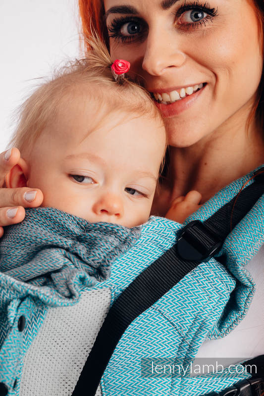 LennyGo Mochila ergonómica de malla, talla bebé, tejido Herringbone, 86% algodón, 14% poliéster - LITTLE HERRINGBONE OMBRE TEAL #babywearing