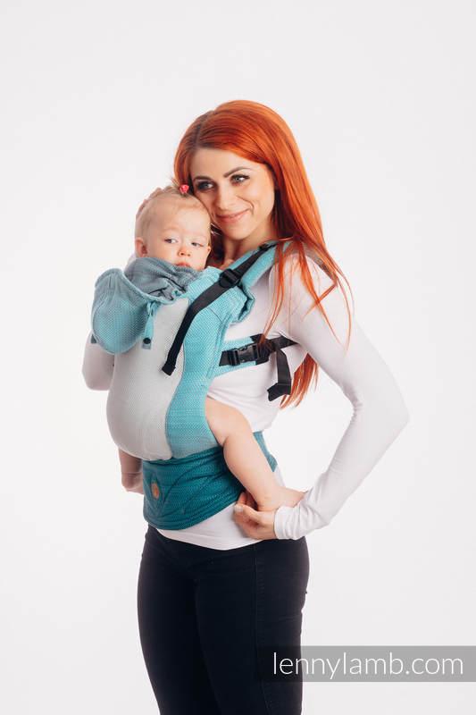 LennyGo Ergonomische  Maschentragehilfe, Größe Baby, Fischgrätmuster, 86% Baumwolle, 14% Poliester - LITTLE HRRINGBONE OMBRE TEAL #babywearing