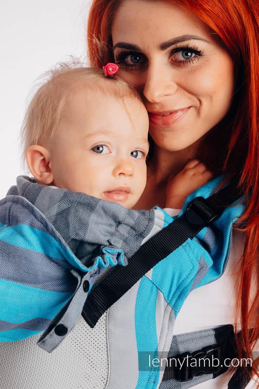 Siatkowe Nosidełko Ergonomiczne LennyGo, splot skośno-krzyżowy, 86% bawełna, 14% poliester, rozmiar Baby - MGLISTY PORANEK #babywearing