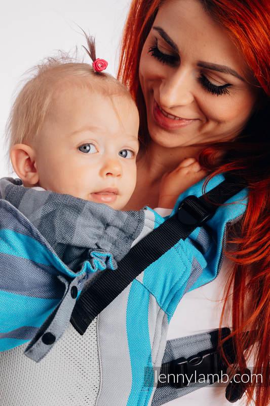 LennyGo Ergonomische  Mesh-Tragehilfe, Größe Baby, Kreuzköper-Bindung, 86% Baumwolle, 14% Poliester - MISTY MORNING #babywearing