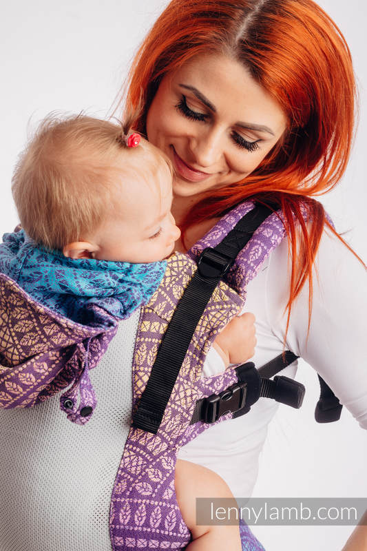 LennyGo Ergonomic Mesh Carrier, Baby Size, jacquard weave 86% cotton, 14% polyester - PEACOCK'S TAIL - CLOSER TO THE SUN #babywearing