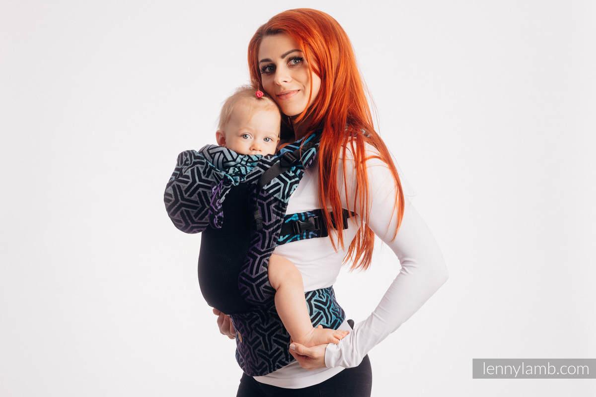 LennyGo Mochila ergonómica de malla, talla bebé, tejido jaquard, 86% algodón, 14% poliéster - TRINITY COSMOS #babywearing