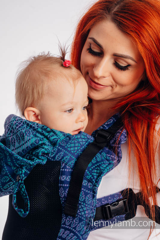 LennyGo Ergonomic Mesh Carrier, Baby Size, jacquard weave 86% cotton, 14% polyester- PEACOCK'S TAIL - PROVANCE #babywearing