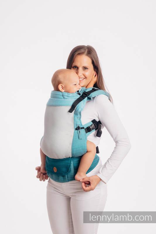 LennyUpGrade Mesh Carrier, Standard Size, herringbone weave (75% cotton, 25% polyester) - LITTLE HERRINGBONE OMBRE TEAL #babywearing
