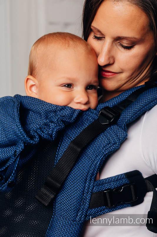 LennyGo Meine Erste Ergonomische  Mesh-Tragehilfe, Größe Baby, Fischgrätmuster, 86% Baumwolle, 14% Poliester - COBALT #babywearing